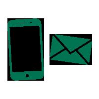 Handy und E-Mail Symbol